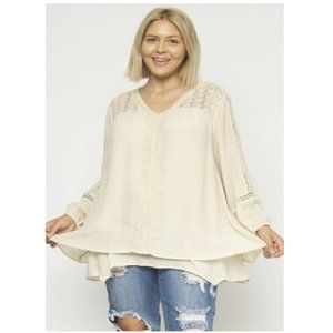 V-Neck Lace-Trim Overlay Top